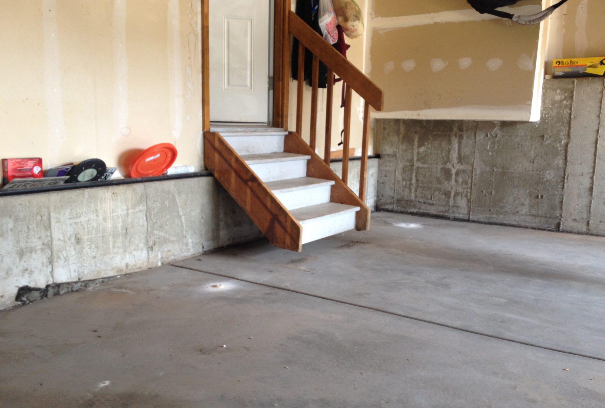 Garage floor that has sunken