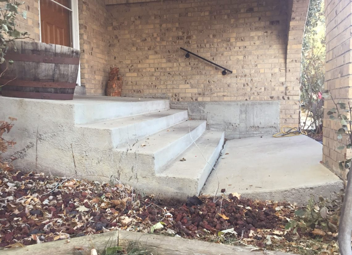 Collapsed concrete stairs