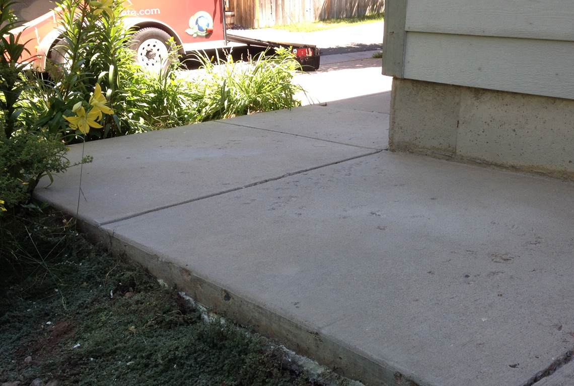Residential concrete walkway that has been repaired by Liftech