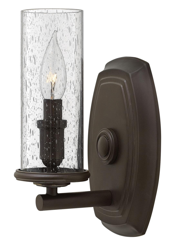 farmhouse style matte black seeded glass one light wall sconce bathroom light