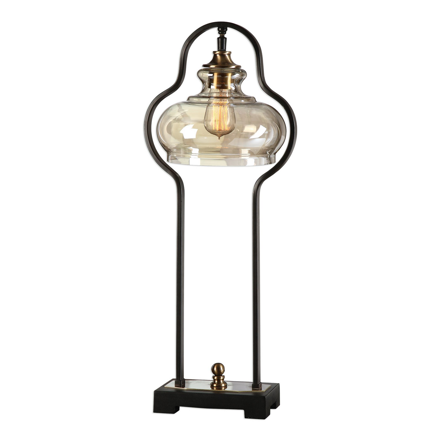 farmhouse style glass and brass desk lamp