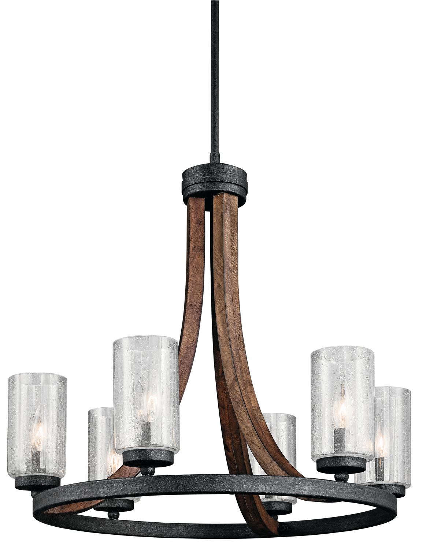 farmhouse style rustic six light chandelier dining room lighting