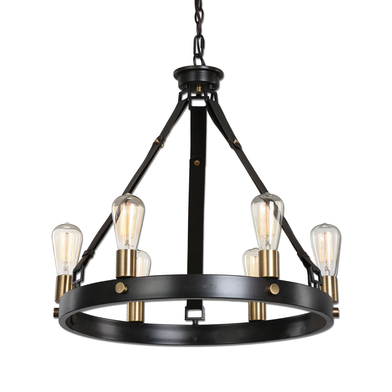farmhouse style matte black six light chandelier dining room lighting with edison bulbs