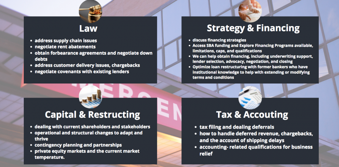 Law, Capital & Restructring, Strategy & Financing, Accounting & Tax