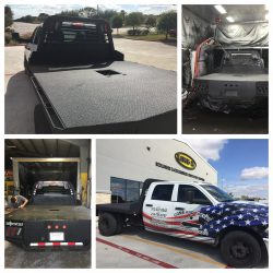 LINE-X material on flat bed truck at LINE-X of Austin