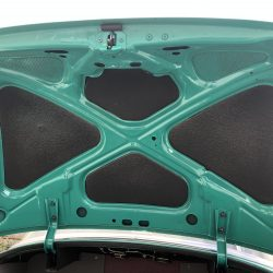teal and black interior of trunk at LINE-X of Austin