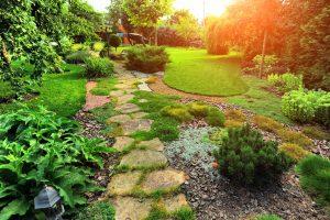 stone steps into lush vibrant green garden