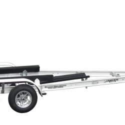 large boat trailer with dual axels and bunks