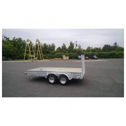 Our double-wheel open deck utility trailer has a galvanized steel frame.