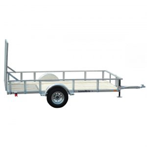 "UT6514SS    |    Price: $2,522    |    Galvanized Tube Frame, 3,500 lb GVWR, 6.5' x 14' Deck, PT 2""x 8"" Plank, Solid Side,  5' Mesh Ramp"