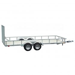 It's hard to beat this four-wheel galvanized utility trailer with a mesh ramp.