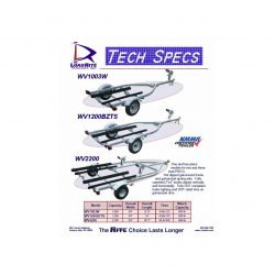 This jet ski trailer flyer gives specs on single and dual jet ski trailers.
