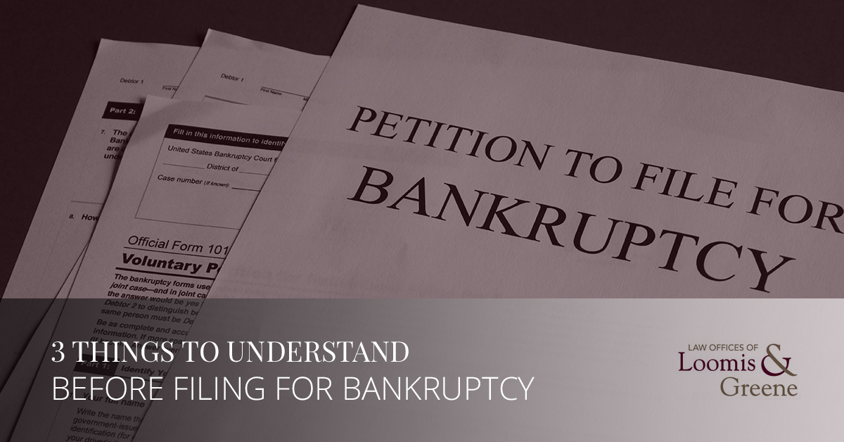 3 things to understand before filing for bankruptcy