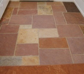 Cut natural stone flooring.