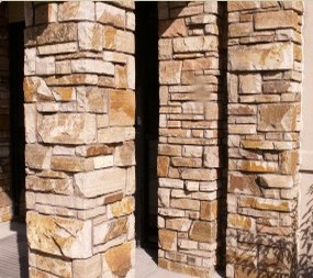 Colorado ledgestone pillars.