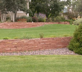 Sample of our natural stone used in a retaining wall.