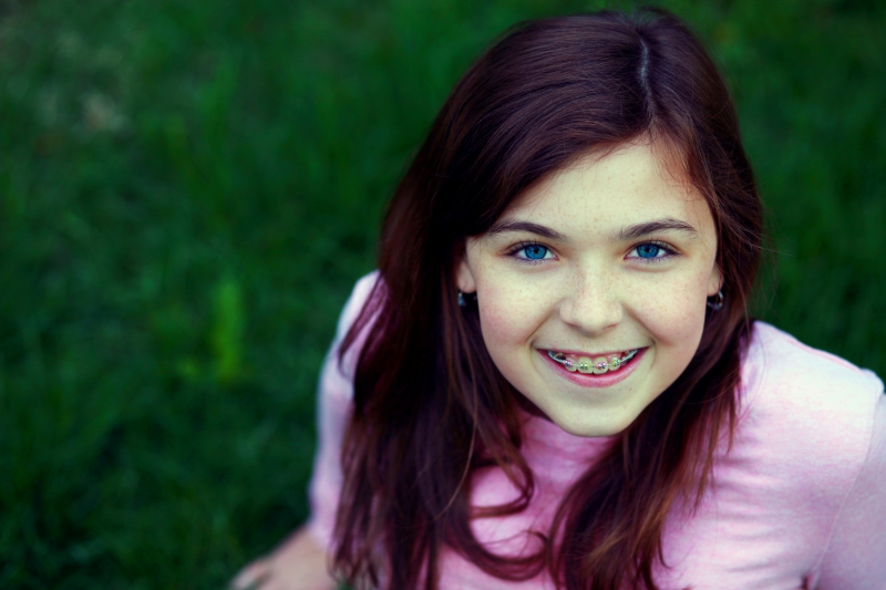 Young Girl With Metal Braces