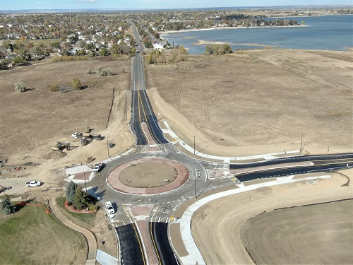 Aerial view of the new roundabout at 37th Street