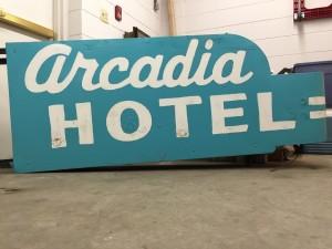 Arcadia Hotel sign