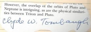 Clyde Tombaugh signature