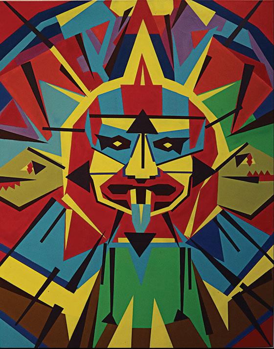 Painting by Josiah Lee Lopez titled Digital Mayan Calendar