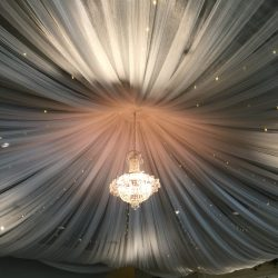 Beautiful Wedding Chandelier and Decorative Fabric from Lumen Lighting