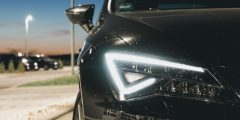 close up of a LED car headlight