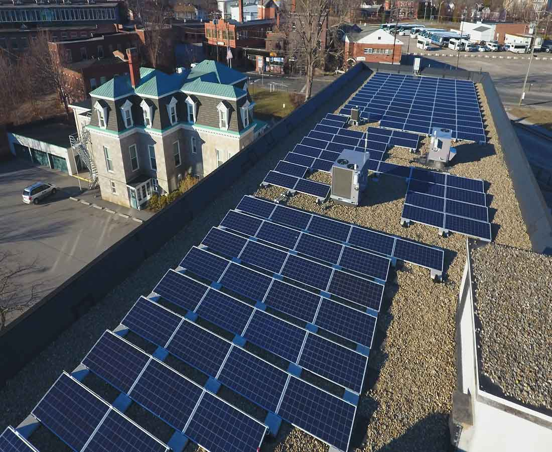 rooftop solar panels on a business