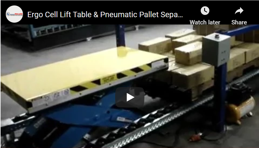 Ergo Cell Pallet Separator and Lift Table - Mallard Manufacturing