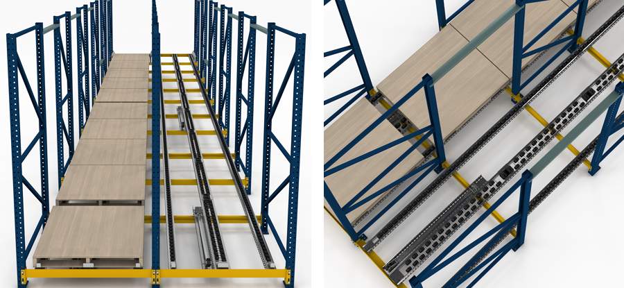 Dual Pallet Separator Pallet Flow Rack Illustration