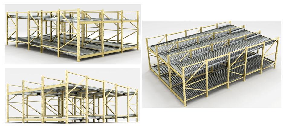 Full-Roller Pallet Flow Rack Illustration Mallard Manufacturing