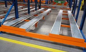 Split Roller Rail Pallet Flow Rack Mallard Manufacturing