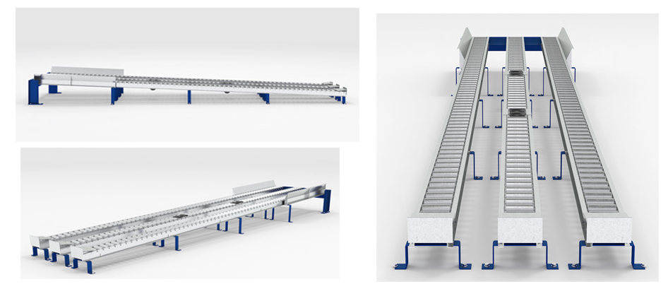 Split-Roller Pallet Flow Rack Illustration Mallard Manufacturing