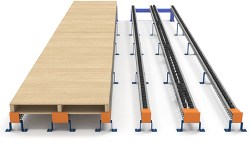 Pallet flow mounting supports