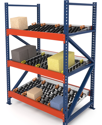 carton flow rack with guides