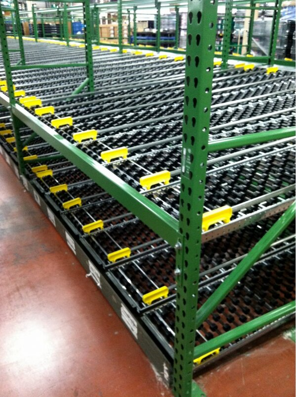 Carton flow rack with lane dividers