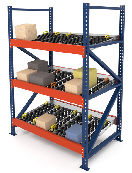 Dyna-Flo Carton Flow Rack with Gides