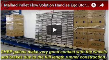 Egg distribution pallet flow test