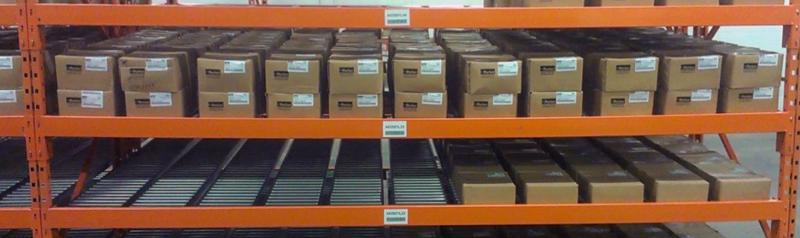 Mallard Cart-Trak full-width roller carton flow rack
