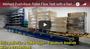 push-back pallet flow rack test