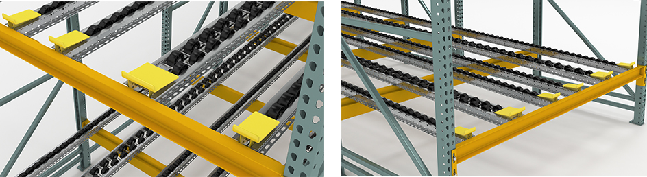 pallet flow ramp stops Mallard Manufacturing