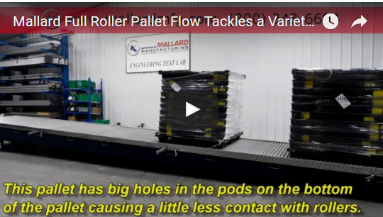 Mallard Gravity Flow Test Video with Full Roller Pallet Flow Rack