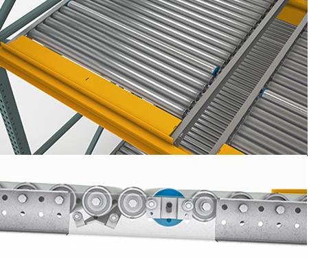 "Mallard Mfg. Full Roller Pallet Flow - 2.5"" dia with drum roller speed controller"