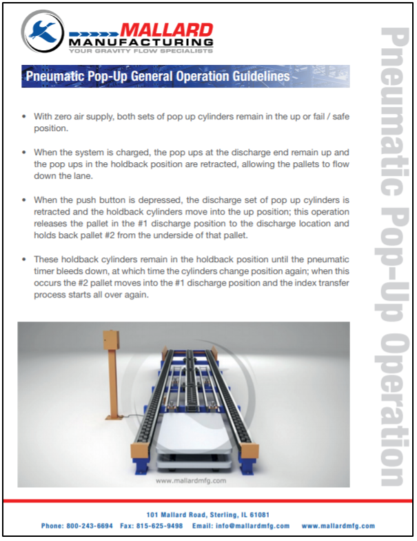 Mallard Pneumatic Pop-Up Device Operation Guidelines