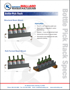 Bottle Pick Rack Mallard Manufacturing