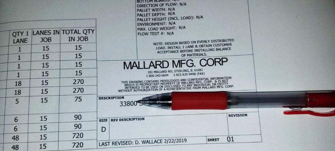 Mallard Pallet Flow Order Form