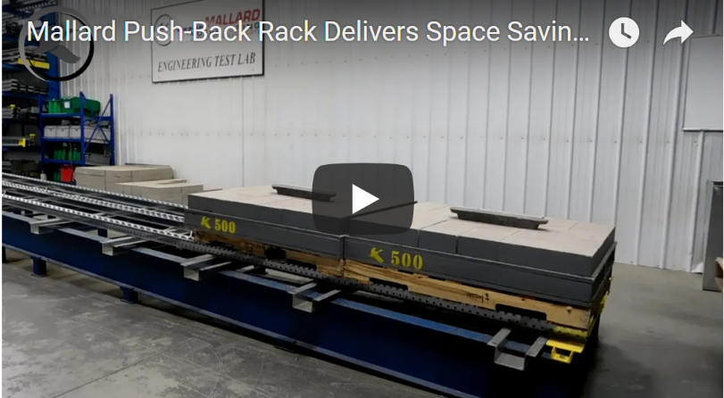 Push-Back Pallet Flow Rack - Mallard Manufacturing