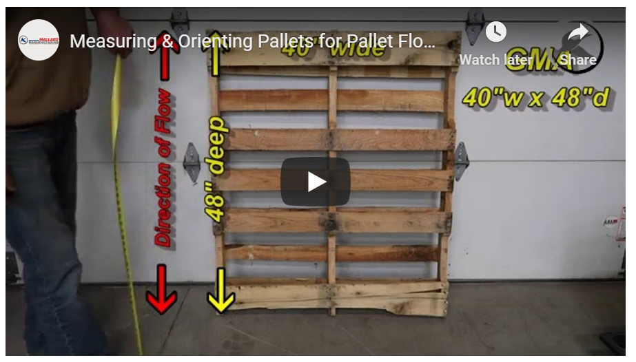 Measuring & Orienting Pallets for Pallet Flow - Mallard Manufactuing