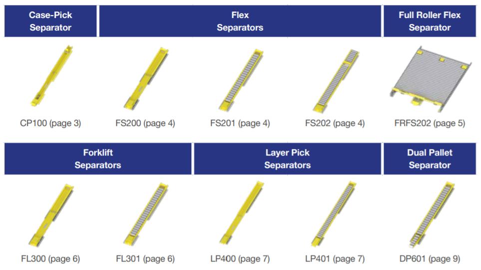 Pallet Separators for Pallet Flow - Mallard Manufacturing
