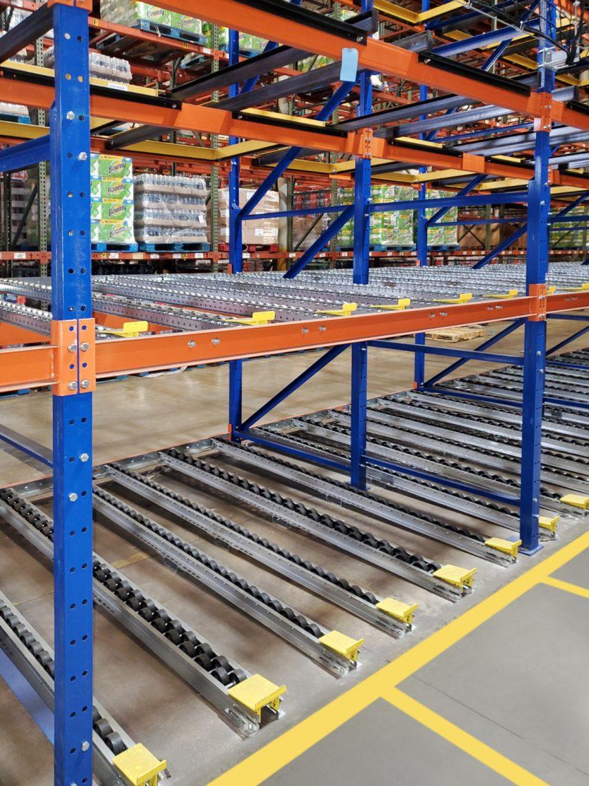 2-deep pallet flow rack for case picking - Mallard Manufacturing